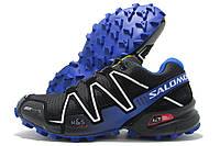 Кроссовки мужские Salomon SpeedCross3 черные с синим (соломон)