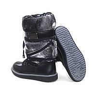 Зимние детские сапоги на девочку ТОМ.М . Черные подростковые высокие сапожки .
