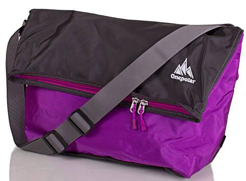Лиловая женская наплечная сумка из полиэстера 20 л. ONEPOLAR (ВАНПОЛАР) W5637-lilac