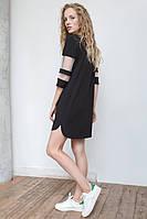 Женская туника-платье с сеткой на рукавах | Осень-Весна