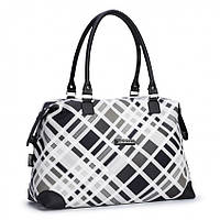 Женская сумка 452 классическая черная с белым Украина