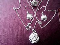 Набор Роза, 925 серебро, кулон + цепочка + серьги