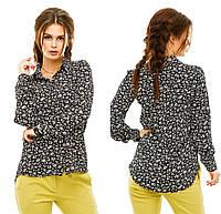 Рубашка женская. Черная основа белые мелкие цветы