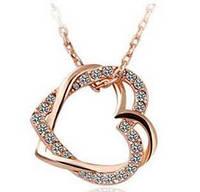 Цепочка и кулон Два Сердца, покр розовое18К золото