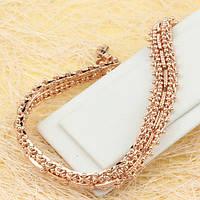 001-0486 - Роскошный браслет розовая позолота, 19.3 см