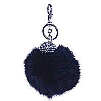 Брелок на сумку, рюкзак Бумбон Кролик страза с двумя типами крепления черный