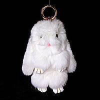 Брелок на сумку, рюкзак Игрушка-Бумбон Кролик страза с двумя типами крепления белый