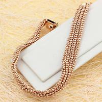 001-0490 - Чудесный браслет плетение Перлина розовая позолота,18.5 см