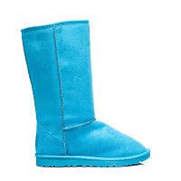 Классические зимние угги женские голубого цвета