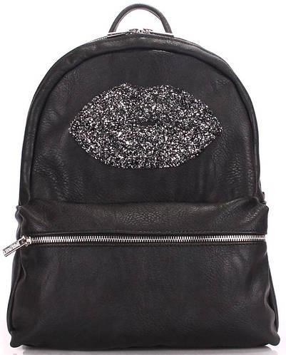 Черный молодежный женский рюкзак на 4 л с губками  POOLPARTY mini-bckpck-lips-black