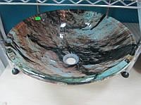 Умывальник стеклянный круглый 420 мм (мрамор)