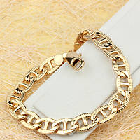001-0516 - Позолоченный браслет с насечками плетение Морская цепь Картье, 19 см