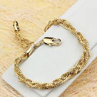 001-0519 - Фигурный позолоченный браслет Венецианское плетение, 18 см