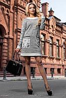 Женское короткое теплое трикотажное платье на осень | Серое