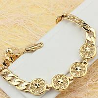 001-0522 - Позолоченный браслет: ажурные круглые звенья и Панцирное плетение, 18 см