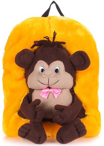 Плюшевый детский рюкзак с мартышкой  POOLPARTY kiddy-backpack-monkey-sunny