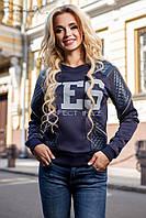 Женская модная кофта с кожаными вставками на осень