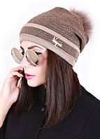 Шапка вязанная женская  Лео твид 0011 (3 цв), женские шапки оптом, шапки от производителя, дропшиппинг