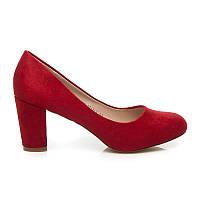 Классические женские туфли замшевые красные