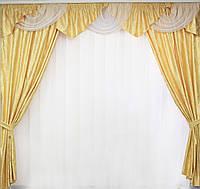 Готовые шторы с ламбрекеном с люрексной нитью