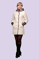 Модная женская куртка - плащ с леопардовым капюшоном и манжетами демисезонная 46-56 размер