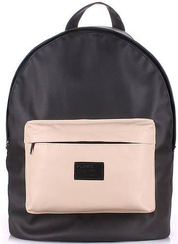 Черный городской женский рюкзак на 6 л  POOLPARTY backpack-pu-black-beige