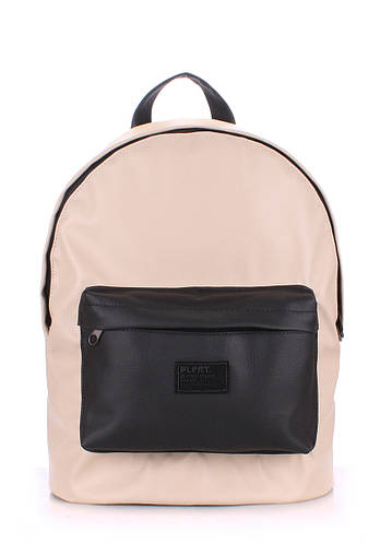 Прочный бежевый городской женский рюкзак на 6 л  POOLPARTY backpack-pu-beige-black