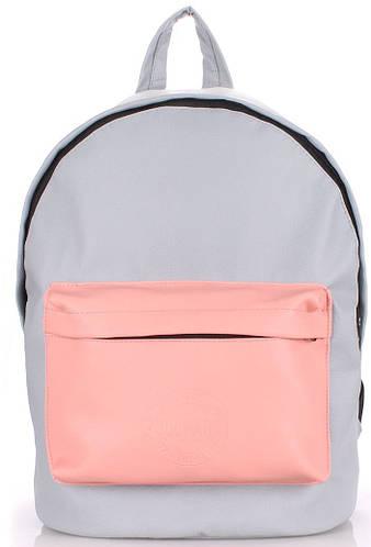 Городской женский рюкзак на 6 л  POOLPARTY backpack-pu-grey-rose