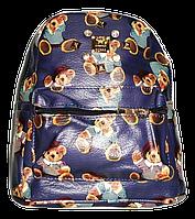 Оригинальный женский рюкзак из кож-зама городской синего цвета