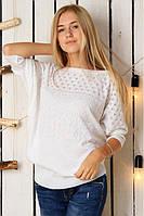 Нарядный белый вязаный женский свитер