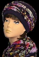 Женский набор (шапка и шарф вязаные) Элит фиолетовые