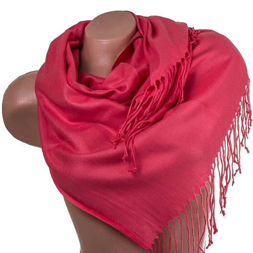 Яркий женский двухсторонний платок из пашмины 91 на 84,5 см OZSOY AKSESUAR (ОЗСОЙ АКСЕСУАР) SAT12316 красный