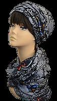 Женский набор (шапка и шарф хомут  вязаные) Элит  светло серый