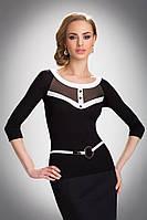 Женская офисная облегающая блуза черно-белого цвета с рукавом три четверти. Модель Emma Eldar.