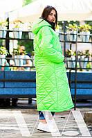 Яркое красивое стёганное пальто из плащёвки в трёх цветах