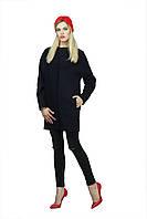 Элегантное женское шерстяное пальто на осень-весну | Синее