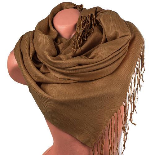 Модный женский палантин из пашмины 169 на 76 см Zambak (Замбак) SAT12143 песочный желтый