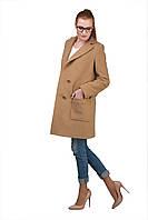 Элегантное женское бежевое пальто с английским воротником | Осень 2016