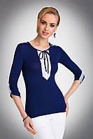Женская нарядная блуза синего цвета с белым кружевом. Модель Taylor Eldar.