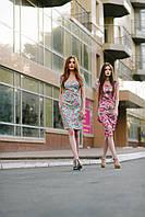 Женское красивое платье-футляр в цветы с молнией на спине
