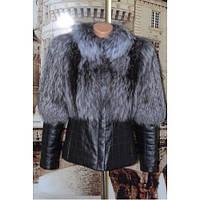 Женская куртка трансформер кожаная с мехом из чернобурки