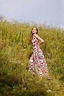 Женское летнее качественное платье макси с вырезом на спине
