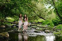 Женское легкое платье миди из вискозы с цветочным принтом