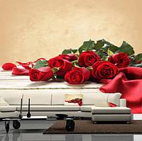 """Фото обои """"Красные розы"""", Фактурная текстура (холст, иней, декоративная штукатурка)"""