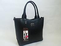 Черная качественная сумка из экокожи 0608