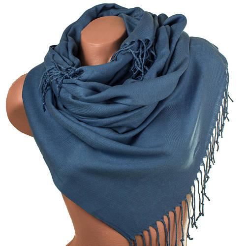 Шикарный женский палантин из пашмины 186 на 74 см OZSOY AKSESUAR (ОЗСОЙ АКСЕСУАР) SAT12065 синий