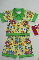 Летний комплект на мальчика (шорты и рубашка) 68/74 см
