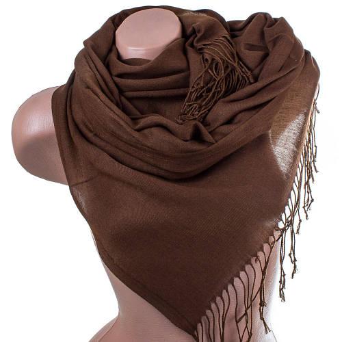 Элегантный женский хлопковый палантин 167 на 69 см OZSOY AKSESUAR (ОЗСОЙ АКСЕСУАР) SAT11074 коричневый