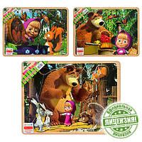 Деревянная игрушка Рамка-вкладыш GT6019   Маша и медведь, 3 вида  , 30-22,5см