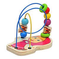 Деревянная игрушка Игра-логика GT 5946   Маша и Медведь, Маша, лабиринт на проволоке, в кульке,